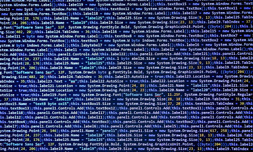 Program source code on black background